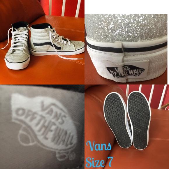 502b641def Vans Silver Lurex Glitter SK8-Hi Reissue Size 7. M 5b9d811d9fe48687981c949c
